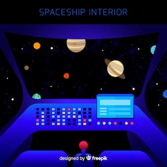 Spaceship interior background with flat design