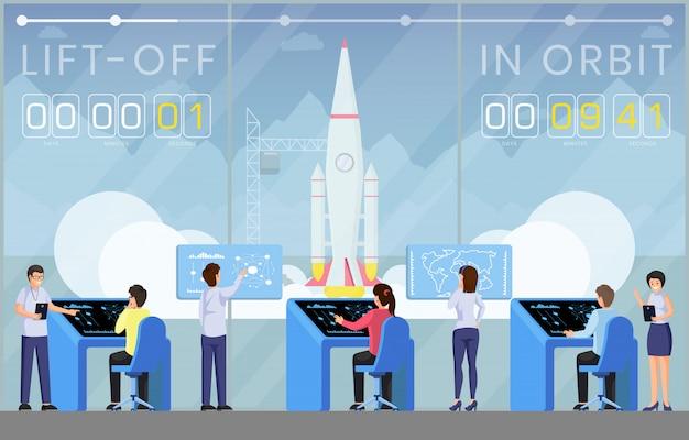 Spaceship launch countdown flat vector illustration