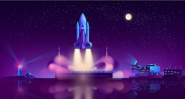 Spaceship launch from floating platform