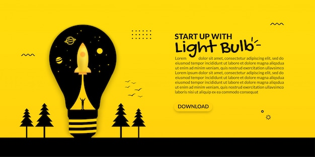 黄色の背景に電球の中の宇宙船打ち上げ、ビジネススタートアップコンセプト