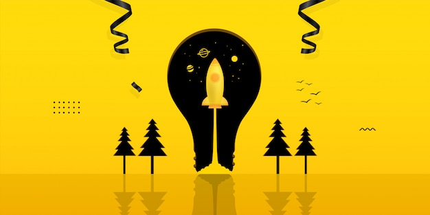Spaceship launch inside light bulb on yellow background, business startup concept Premium Vector