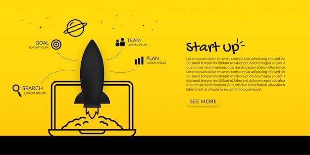Запуск космического корабля с ноутбука в космос на желтом фоне, концепция запуска бизнеса