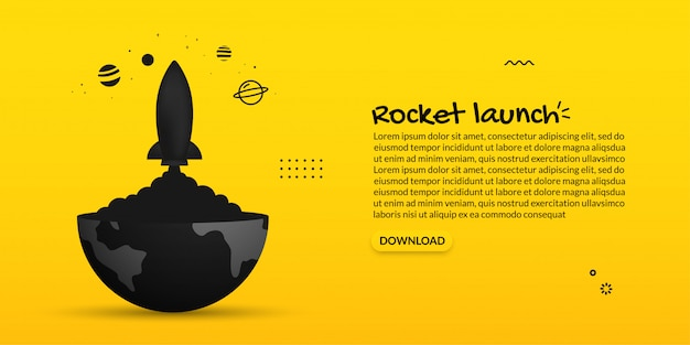 Spaceship launching out from earth on yellow background