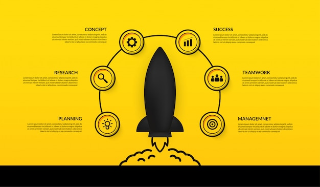 Spaceship launching to space infographic with multiple options