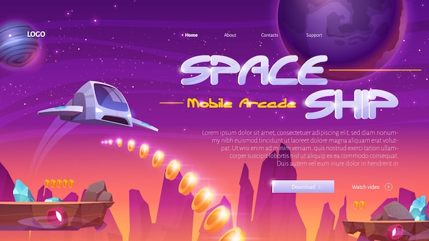 Spaceship mobile game website with rocket on universe