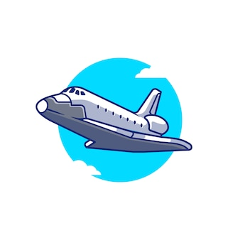 Spaceship plane flying cartoon icon illustration. air transportation icon concept isolated premium . flat cartoon style