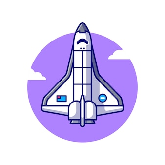 Spaceship plane flying illustration