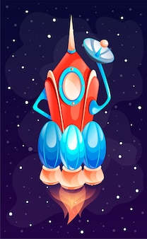 Spaceship or rocket in space. concept of space icon for computer game