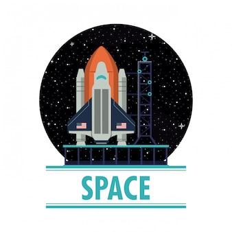 Spaceship rocket on station on round symbol