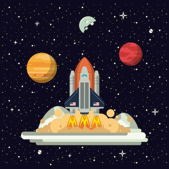 Spaceship rocket on station