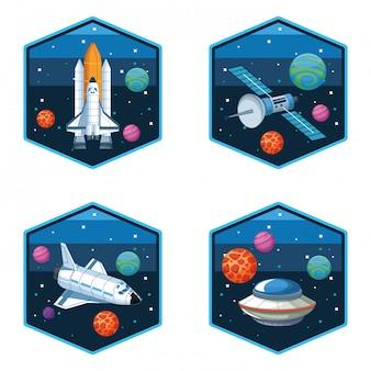 Spaceship satellite and ufo set of emblems