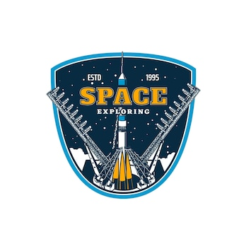 Spaceship on start, space exploring and galaxy discovery, vector icon. rocket spacecraft launch on spaceport or cosmodrome to space and planets or orbital station mission, spaceman academy
