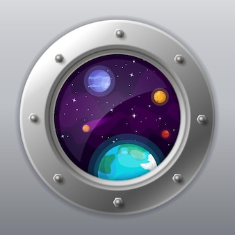 Spaceship window view. porthole from rocket to dark sky with earth, stars, planets