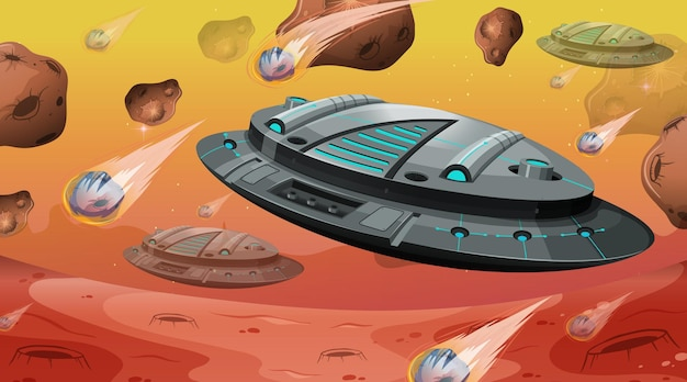Spaceship with asteroids in space scene
