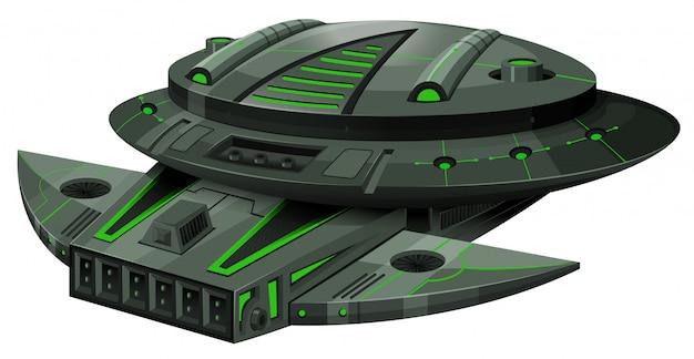 緑と黒の色の宇宙船