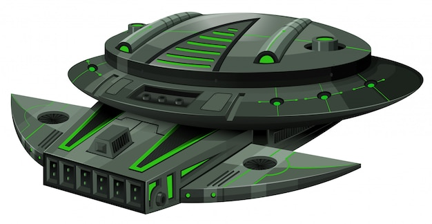 Spaceship with green and black colors