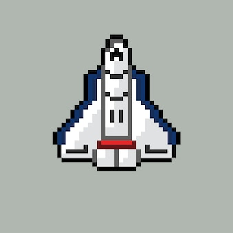Spaceship with pixel art style