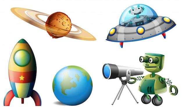 宇宙船とロボット
