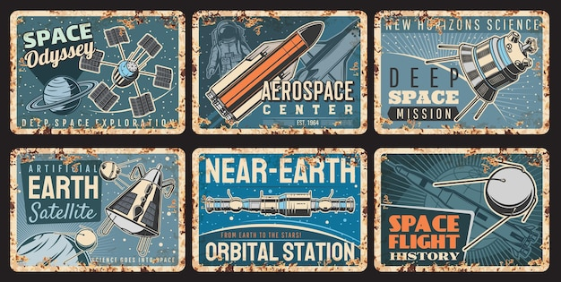 Spaceships and satellites rusty plates of vector galaxy universe space and astronomy science. spaceship, shuttle, rocket and satellite with astronaut in space suit flying through planets and stars