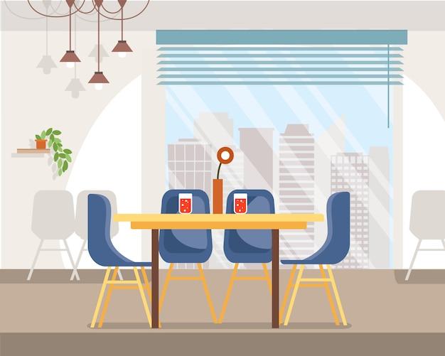 Spacious cafe interior flat