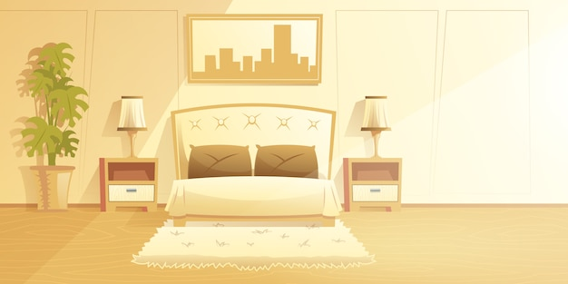 Spacious, sunny bedroom interior cartoon vector with fur carpet on floor