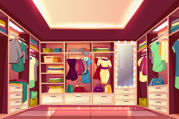 Просторная прогулка в гардеробной или гардеробной, полной мультфильмов женской одежды