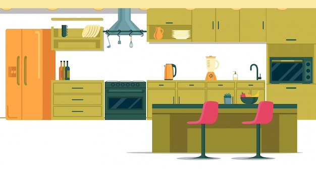 Spacious well-equipped kitchen with kitchen island