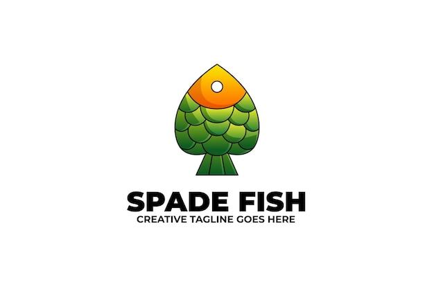 Spade fish mascot logo in watercolor style