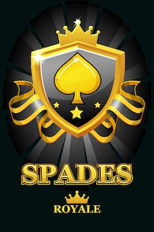 Spades royale in black shield. casino banner with award ribbon and crown