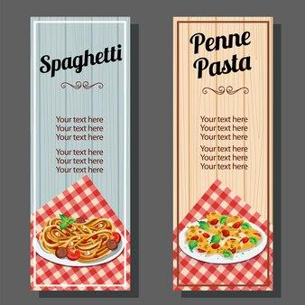 スパゲティとペンネパスタのバナー