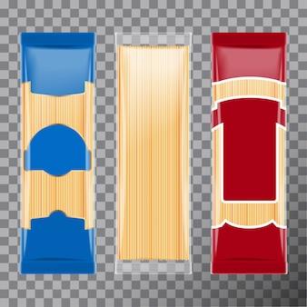 スパゲッティ、カペリーニパスタパッケージテンプレートデザイン、透明に分離。