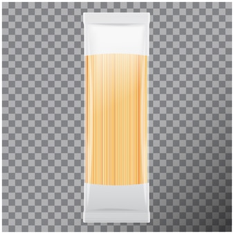 Spaghetti, capellini pasta package,  on transparent background.   illustration