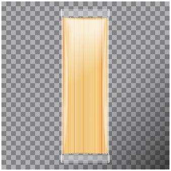 スパゲッティ、カペリーニパスタ透明パッケージ、透明な背景。図