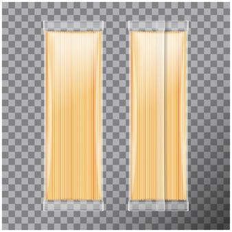 Спагетти, капеллини паста прозрачная упаковка, на прозрачном фоне. иллюстрация пакета