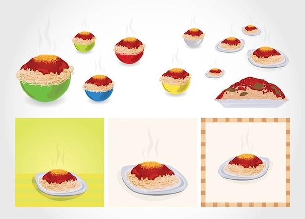 Spaghetti dishes vector