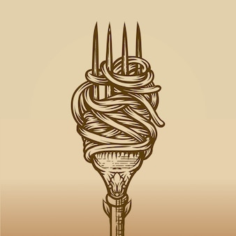Spaghetti on fork in engraving style