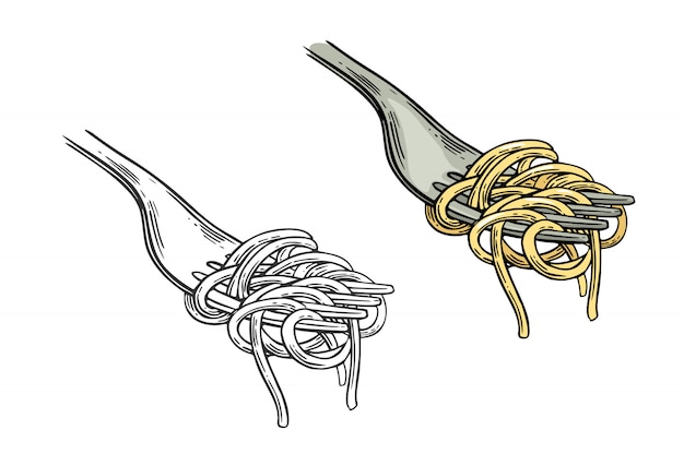 Spaghetti on fork illustration