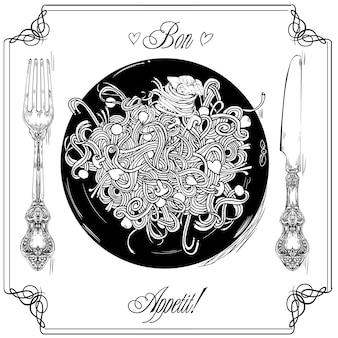스파게티 - 메뉴 또는 레스토랑 카드에 대한 그래픽 그림