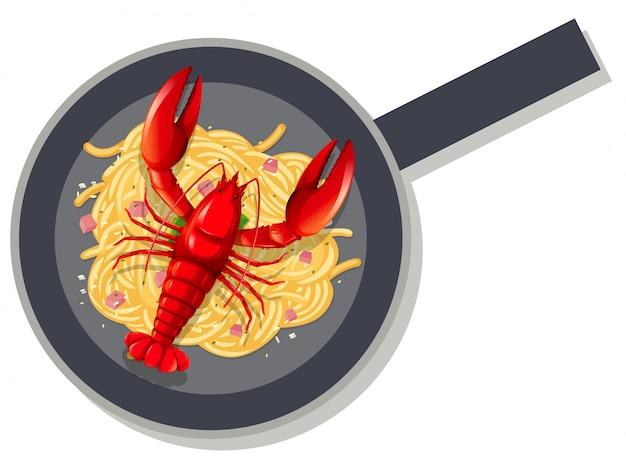 鍋にスパゲッティロブスター