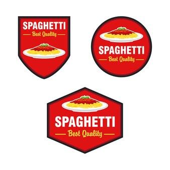 Spaghetti logo design vector set