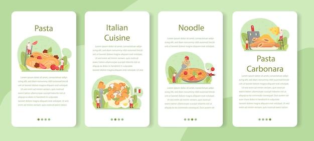 Набор баннеров мобильного приложения спагетти или макаронных изделий. итальянская еда на тарелке. вкусный ужин, мясное блюдо. ингредиенты из грибов, фрикаделек, помидоров.