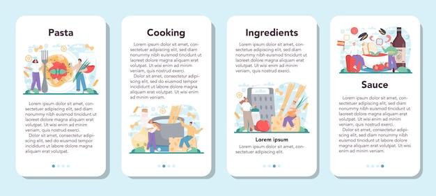 スパゲッティまたはパスタのモバイルアプリケーションのバナーは、プレートにイタリア料理を設定します