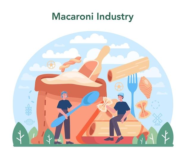 スパゲッティまたはパスタ製造業。イタリアの伝統的な食品製造。半加工麺の生地作り、成形、乾燥工程。漫画スタイルのフラットベクトルイラスト