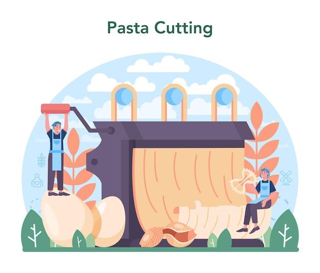 スパゲッティまたはパスタ製造業。イタリアの伝統的な食べ物