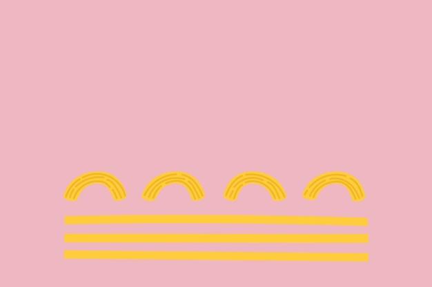ピンクのかわいい落書きスタイルのスパゲッティパスタ食品背景ベクトル