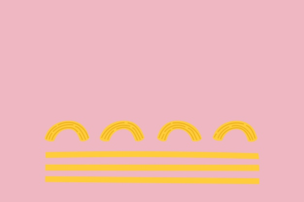 Spaghetti pasta food background vector in pink cute doodle style