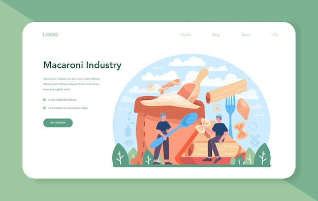 Spaghetti or pasta production industry web banner or landing page. italian traditional food manufacturing. semi-processed noodles making process. flat vector illustration in cartoon style