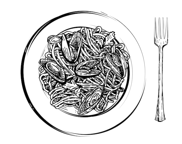 Spaghetti with mussels on a plate healthy food mediterranean dishes seafood dishes sketch vektor