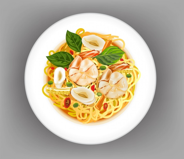 Spaghetti with shrimp and squid