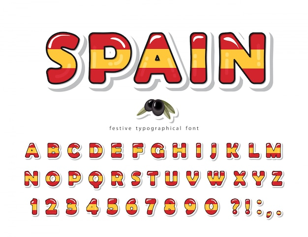 Испания мультяшный шрифт. цвета испанского национального флага.